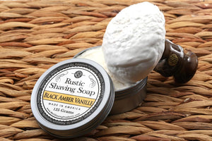 shaving soap and lathered brush
