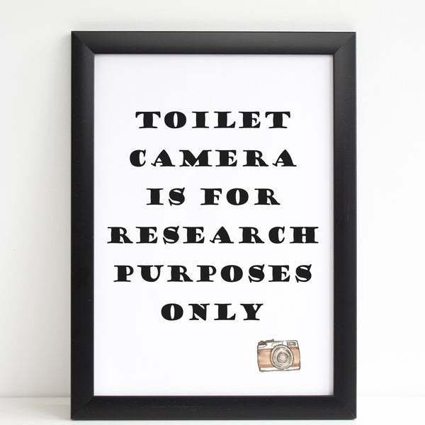 Toilet Camera Joke, Funny Home Gift, Bathroom Print/Poster A4 or A3