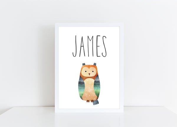 Owl Children's Poster, Personalised White Nursery Print- A4