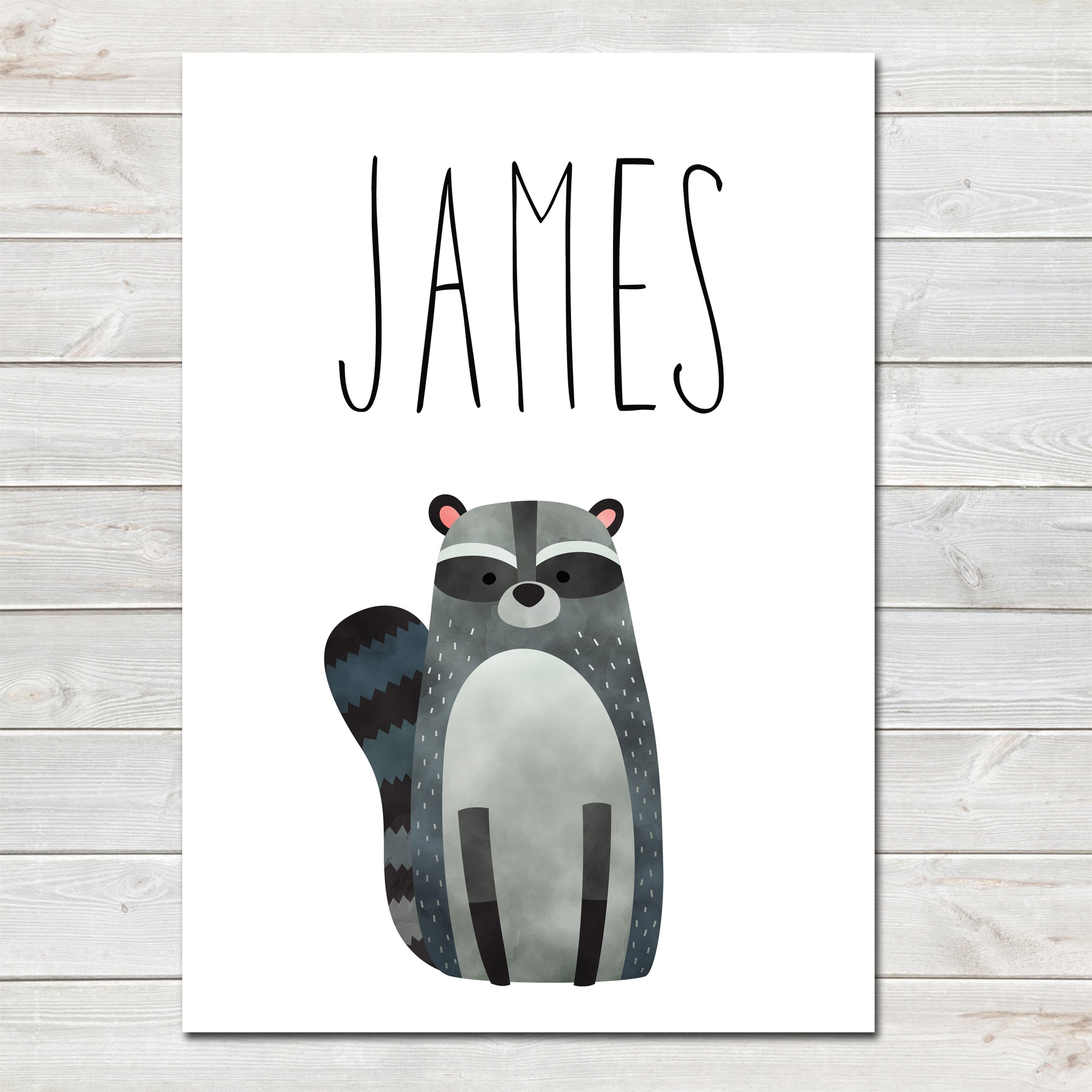 Raccoon Children's Poster, Personalised White Nursery Print- A4