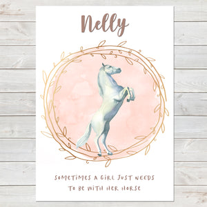 Majestic White Horse Name Print with Quote, Personalised Bedroom Print for Kids
