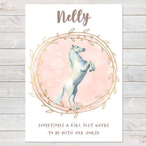 Majestic White Horse Name Print with Quote, Personalised Bedroom Print for Kids, A4 or A3