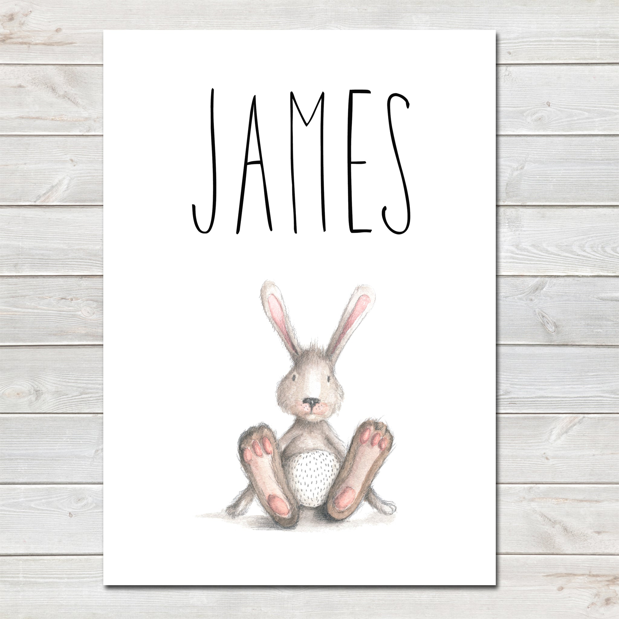 Bunny Rabbit / Hare Children's Poster, Personalised White Nursery Print- A4