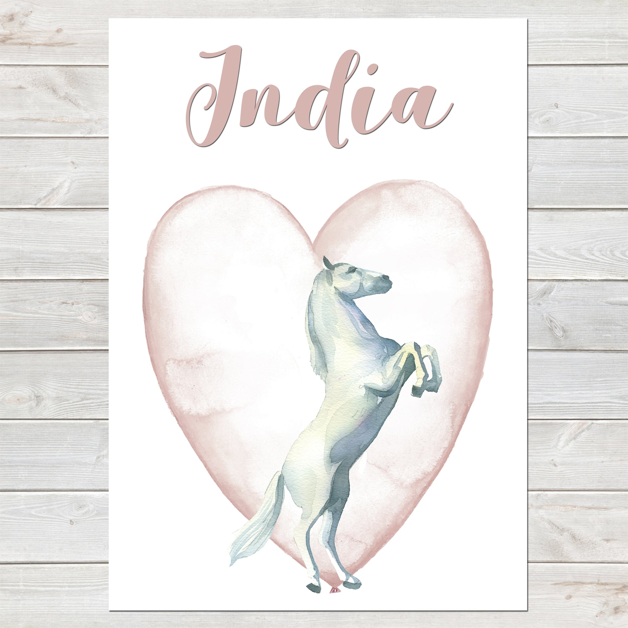 Majestic White Horse Name Print with Heart, Personalised Bedroom Print for Kids, A4 or A3