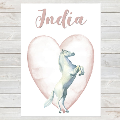 Majestic White Horse Name Print with Heart, Personalised Bedroom Print for Kids