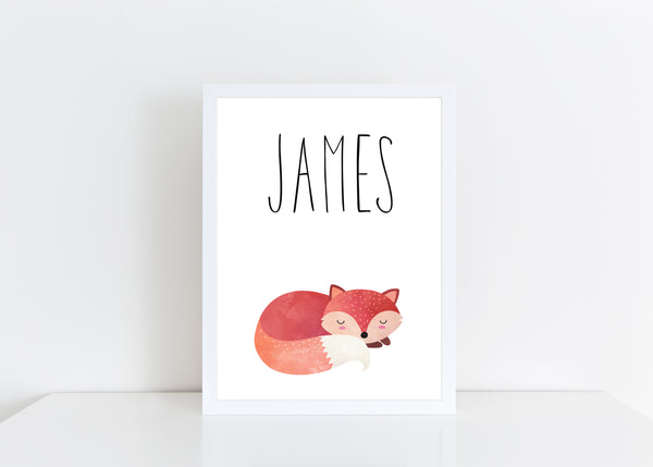 Sleeping Fox Children's Poster, Personalised White Nursery Print