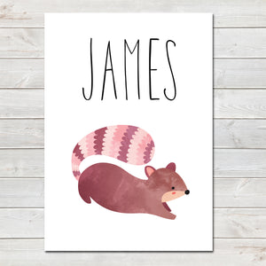 Squirrel Children's Poster, Personalised White Nursery Print