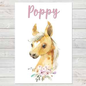 Beautiful Foal Name Print, Personalised Horse Print for Kids, A4 or A3
