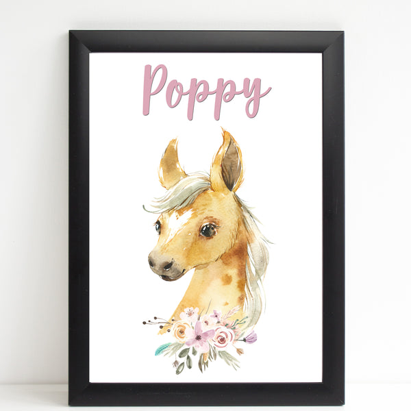 Beautiful Foal Name Print, Personalised Horse Print for Kids