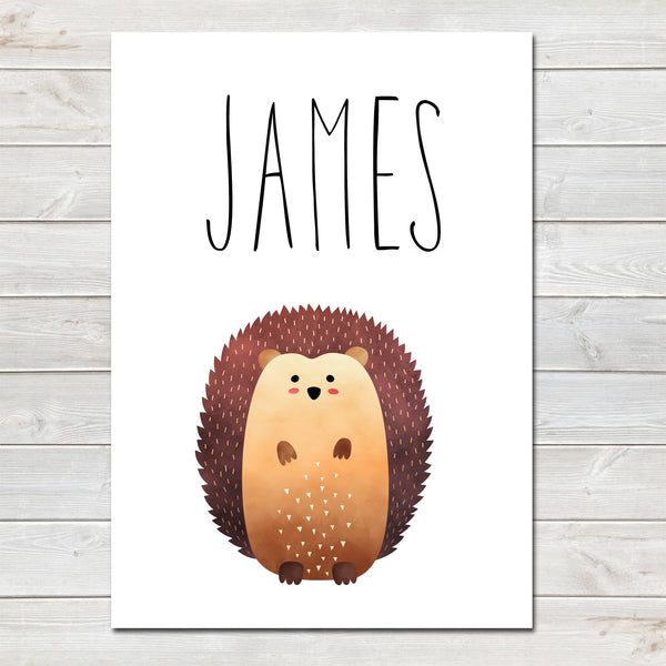 Hedgehog Standing Children's Poster, Personalised White Nursery Print- A4