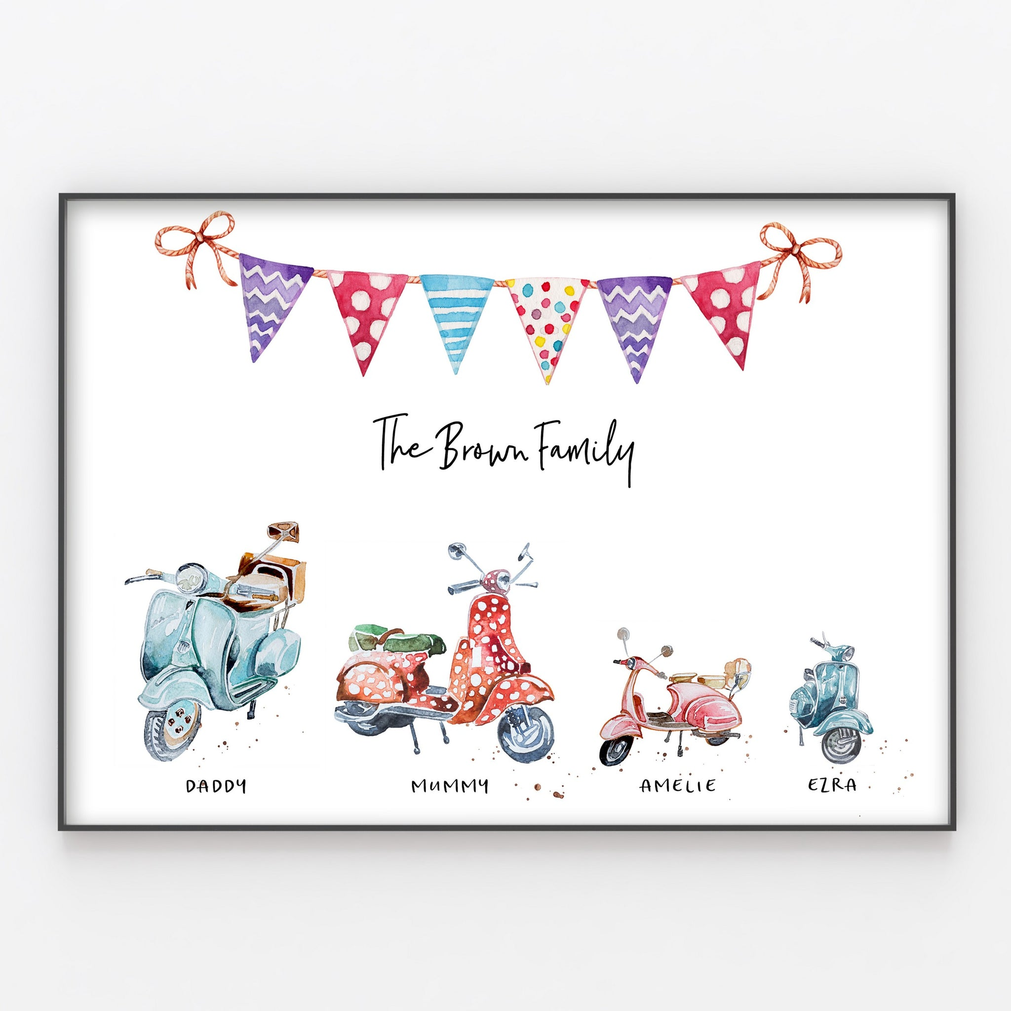 Moped Family Print, Wall Art Gift for Home, Personalised