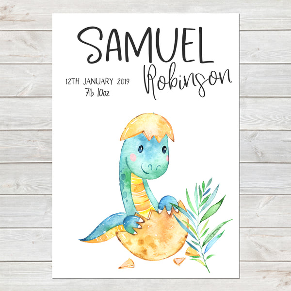 Baby Dinosaur Name Print, Birth Announcement, Personalised Nursery Gift A4 or A3