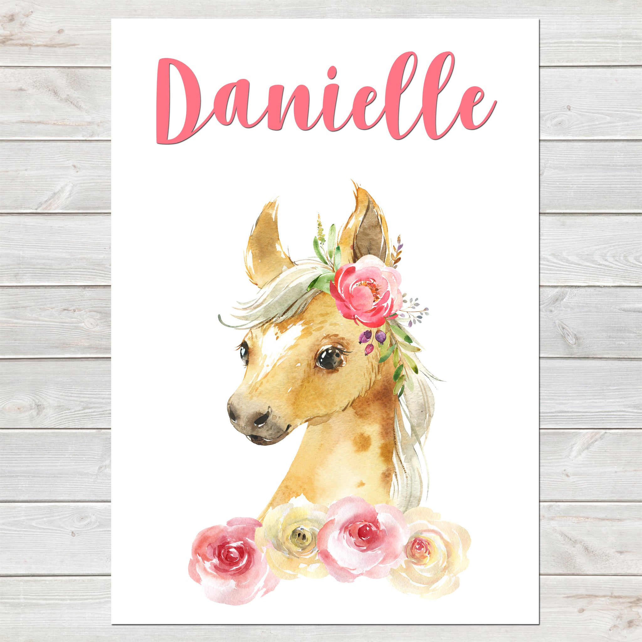 Beautiful Foal Name Print, Pink Floral, Personalised Horse Print for Kids