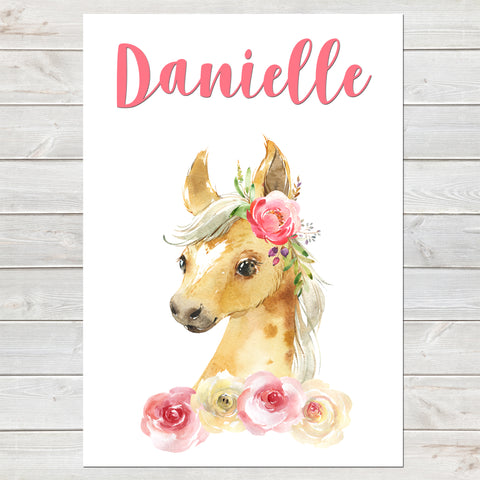 Beautiful Foal Name Print, Pink Floral, Personalised Horse Print for Kids, A4 or A3