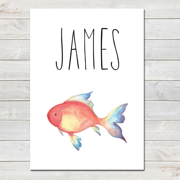 Goldfish Children's Poster, Personalised White Nursery Print- A4