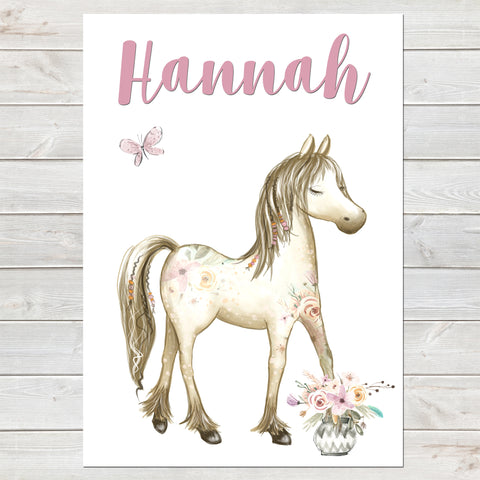 Boho Horse Name Print, Pink Floral, Personalised Pony Print for Kids
