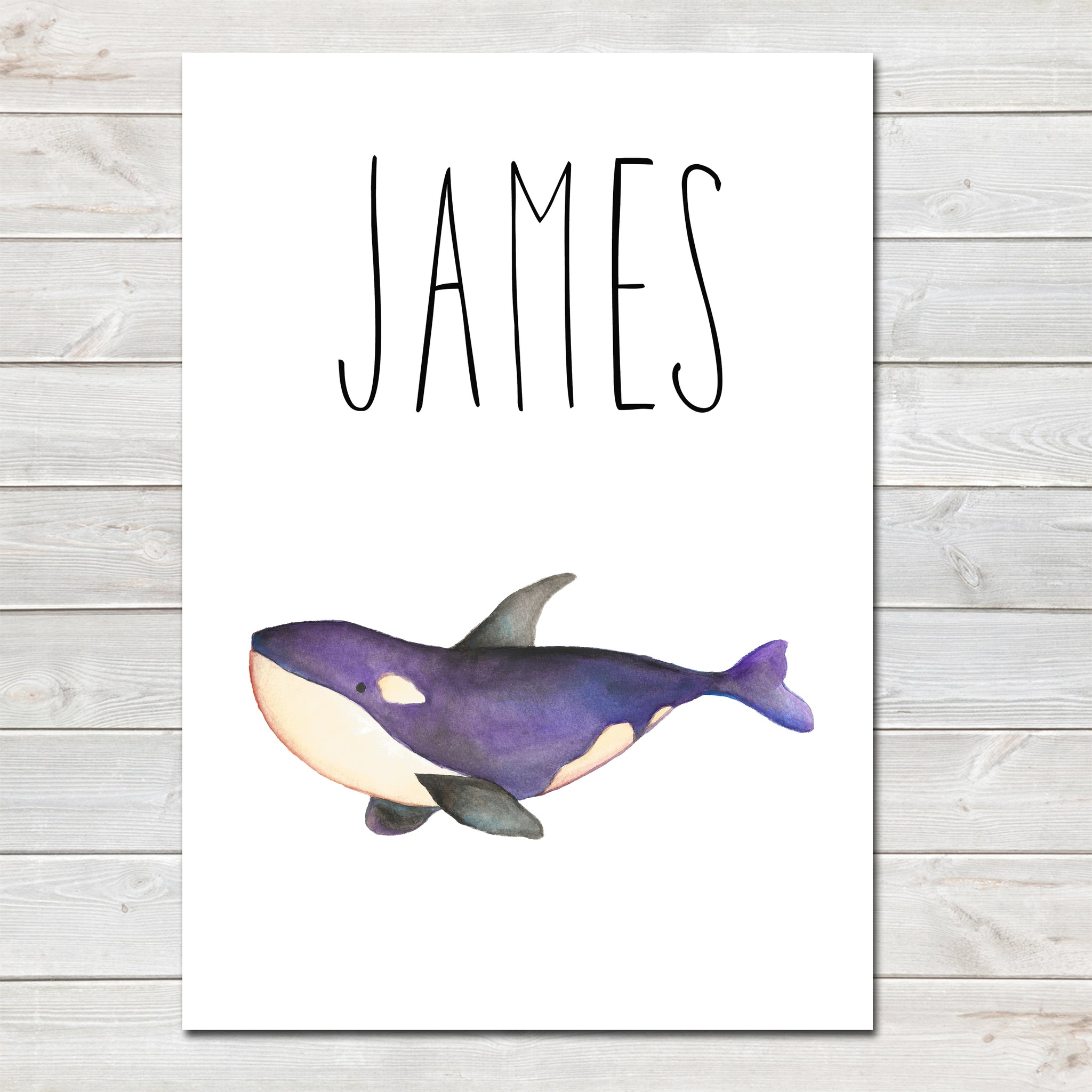 Whale Children's Poster, Personalised White Nursery Print