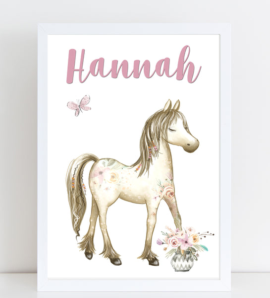 Boho Horse Name Print, Pink Floral, Personalised Pony Print for Kids, A4 or A3