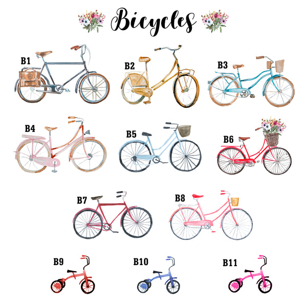 Bicycle Family Print, Wall Art Gift for Home Personalised in A3 or A4