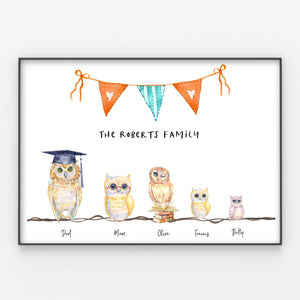 Owls Family Print Personalised Wall Art Gift for Home