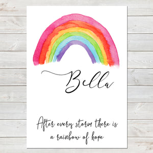 After Every Storm there is a Rainbow Personalised Nursery Print A4 or A3