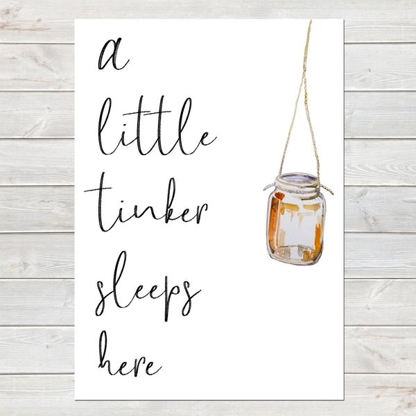 Little Tinker Sleeps Here, Nursery Gift, Bedroom Print A4 or A3