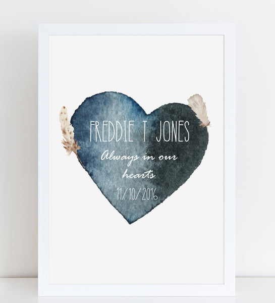 Watercolour Heart with Feathers, Baby Loss Remembrance Personalised Print