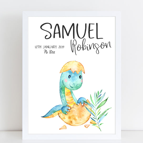 Baby Dinosaur Name Print, Birth Announcement, Personalised Nursery Gift