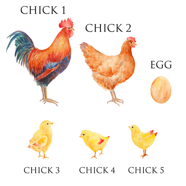 Chicken Family Print, Wall Art Gift for Home Personalised in A3 or A4