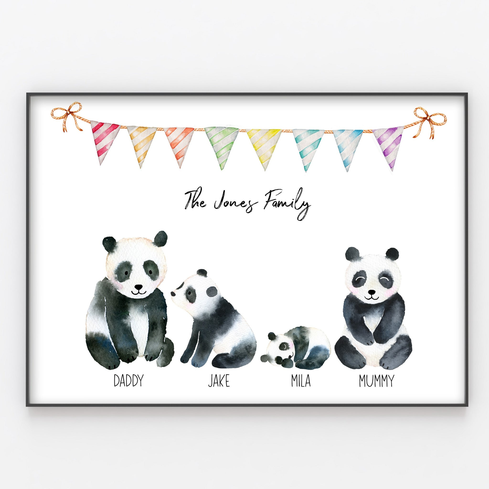 Panda Family Print, Wall Art Gift for Home Personalised