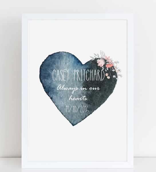 Watercolour Heart with Pink Flowers, Baby Loss Remembrance Personalised Print A4 or A3