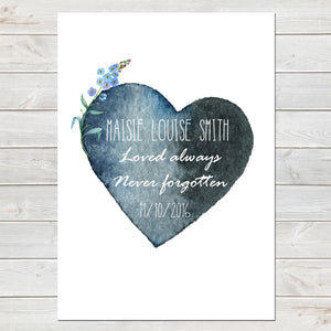 Watercolour Heart with Forget Me Not, Baby Loss Remembrance Personalised Print