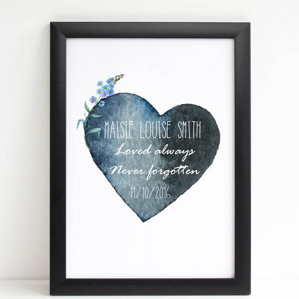 Watercolour Heart with Forget Me Not, Baby Loss Remembrance Personalised Print A4 or A3