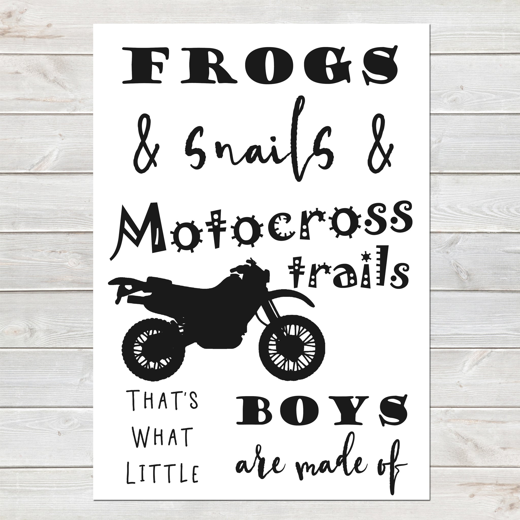 Motocross Print, Poem Poster for Boys Bedroom, Bike/Motorsports Theme A4 of A3