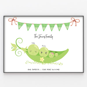 Peas in a Pod Family Print, Wall Art Gift for Home Personalised in A3 or A4