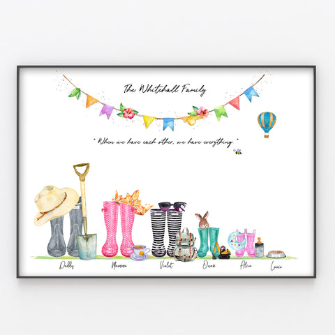 Pretty Wellington Boot Family Print Personalised Rain Boot Wall Art Gift