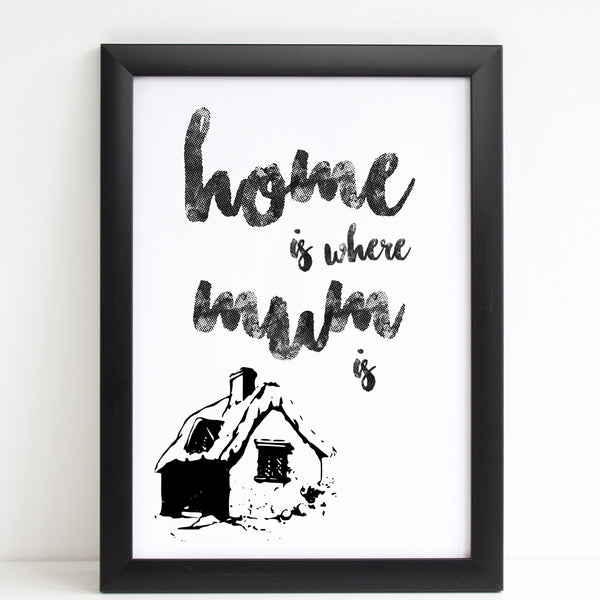 Mothers Day Print 'Home is Where Mum is' Quote White Poster Gift A4 or A3