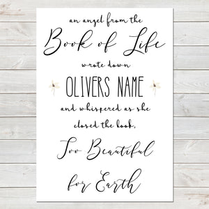 An Angel From the Book of Life Quote, Baby Loss Remembrance Personalised Print