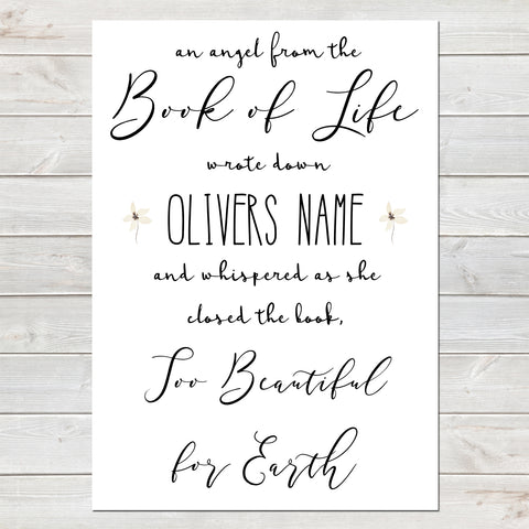 An Angel From the Book of Life Quote, Baby Loss Remembrance Personalised Print A4 or A3