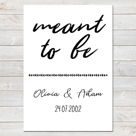 Meant To Be, Personalised Couples Print, Wedding / Anniversary Gift