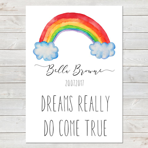 Dreams Really Do Come True, Personalised Rainbow Baby Nursery Print