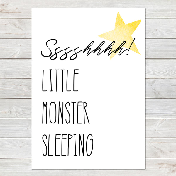 Little Monster Sleeping, Nursery Gift, Fun Bedroom Print for Kids
