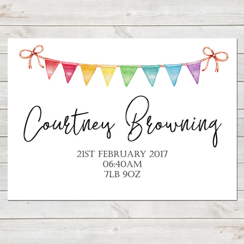 Rainbow Baby Name Reveal with Bunting Illustration Personalised Nursery Print A4 or A3