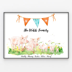 Pig Family Print, Wall Art Gift for Home Personalised in A3 or A4