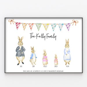 Rabbits / Bunnies Family Print, Wall Art Gift for Home Personalised