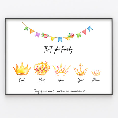 Crown Family Print Personalised Wall Art Gift…