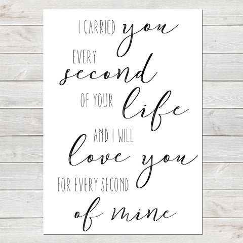 I Carried You Quote, Baby Loss Remembrance Bereavement Print A4 or A3