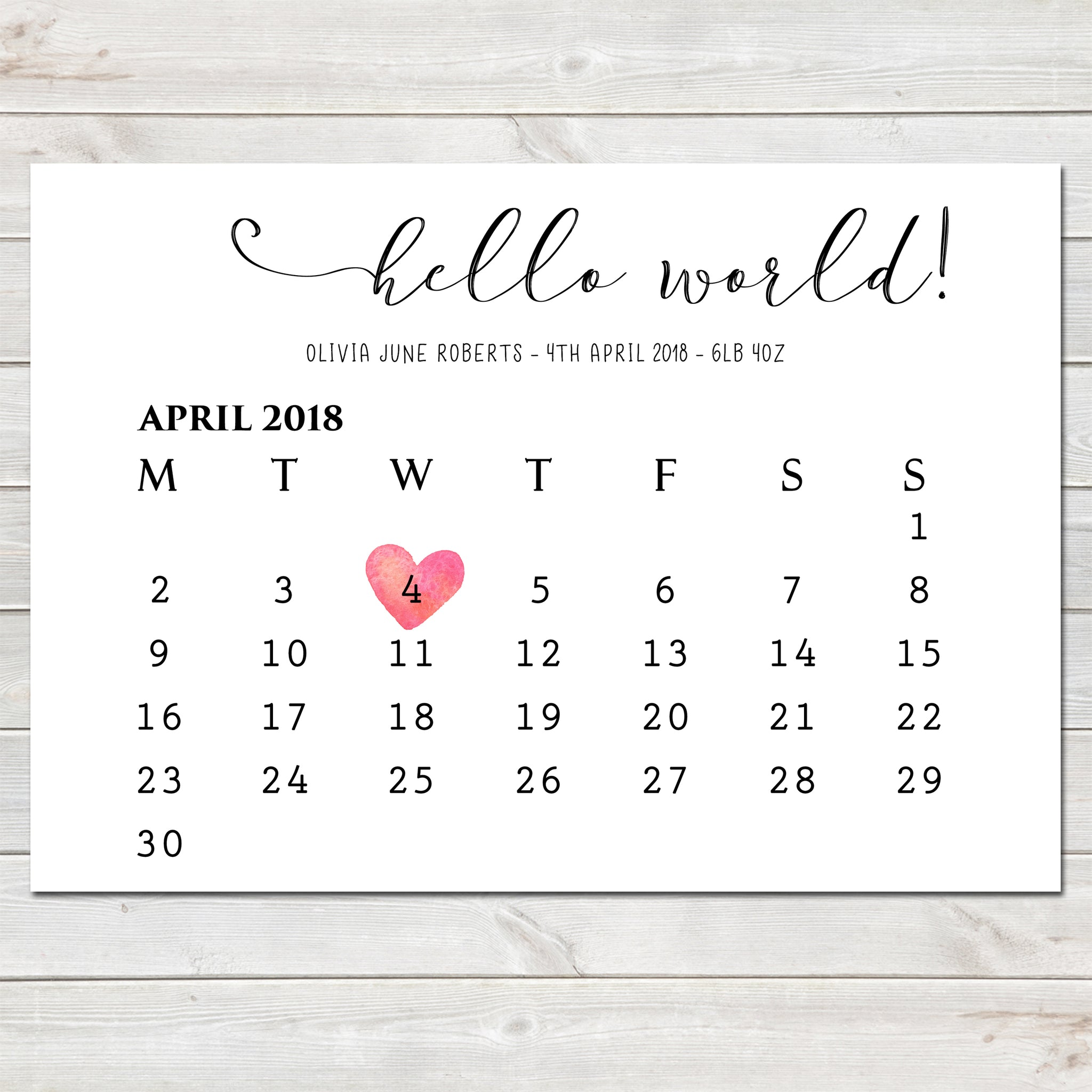 Hello World! Baby Birth Date Announcement / Nursery Bedroom Print Gift Newborn- A4
