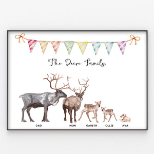 Reindeer Family Print, Wall Art Gift for Home, Personalised