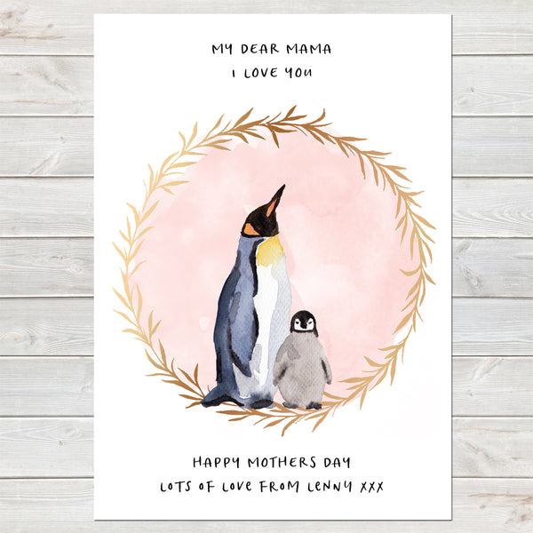 Dear Mama Cute Penguins, Mummy & Baby Print, Mother's Day Gift